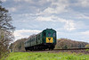 205025 passes the Ropley Down Distant signal, with the 13:55 Alresford - Alton, <br /> on 23rd April 2016.