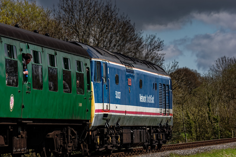 50027 at Bluebell Crossing, with the 11:15 Alresford - Alton, on 23rd April 2016.