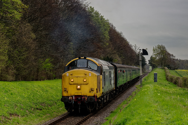 37901 passes the Ropley Down Outer Home signal, with the 15:40 Alton - Alresford, <br /> on 22nd April 2016.