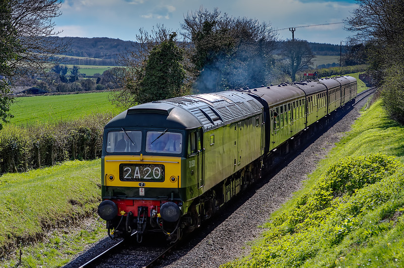 47402 climbing away from Ropley, with the 15:05 Alresford - Alton, on 26th April 2013.