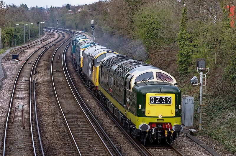 55009 powering through Farnham with 0Z39, Bury - Alton loco convoy, <br /> on 24th April 2013. In the consist, 37901 / 33109 / 20087 and 47402.