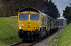 66738 and 37905 approaching Milepost 56, with the 11:30 Alton - Alresford, <br /> on 28th April 2013.
