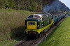 55009 and 4-VEP 3417 passing Ropley Down Home signal, with the 09:30 Alton - Alresford, <br /> on 28th April 2013.