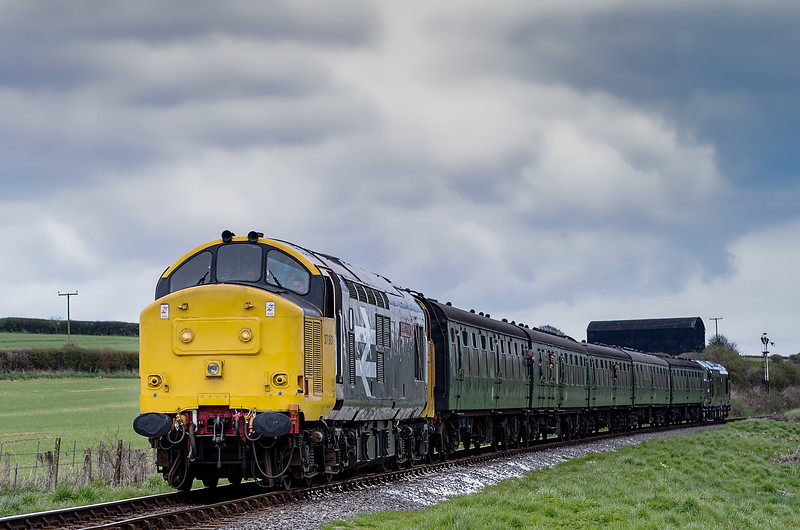 37901 top & tail with 37905 on Black Barn Curve, with the 13:30 Alton - Alresford, <br /> on 28th April 2013.