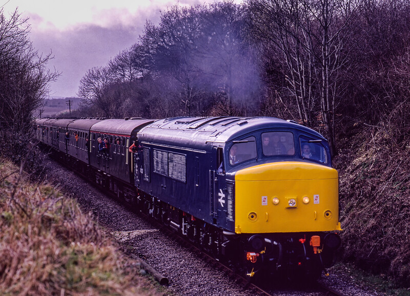 45132 nears Bluebell Crossing with the 13:36 Alresford - Alton, on 5th March 1994. <br /> Scanned Transparency.