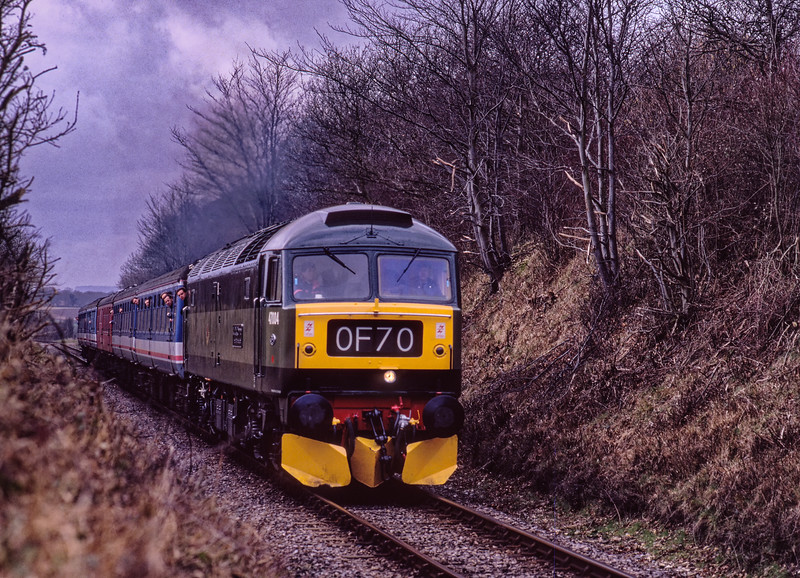 47004 approaches Bluebell Crossing with the 12:16 Alresford - Alton, on 5th March 1994. Scanned Transparency.