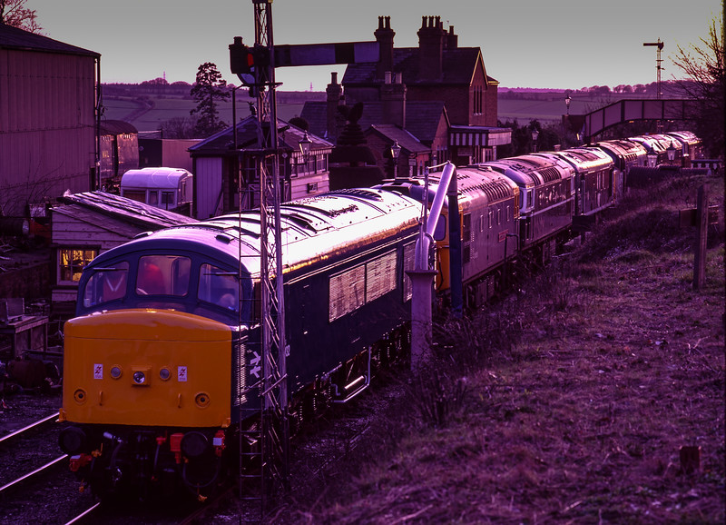 45132 / 33116 / 27007 / 25067 / 37892 / 47004 and D7018 stabled overnight at Ropley, <br /> on 5th March 1994. Scanned Transparency.