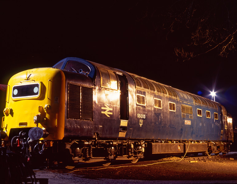 """The night before the Gala, 55015 """"Tulyar"""" in the yard at Ropley. 3rd March 1995. <br /> Scanned Transparency."""