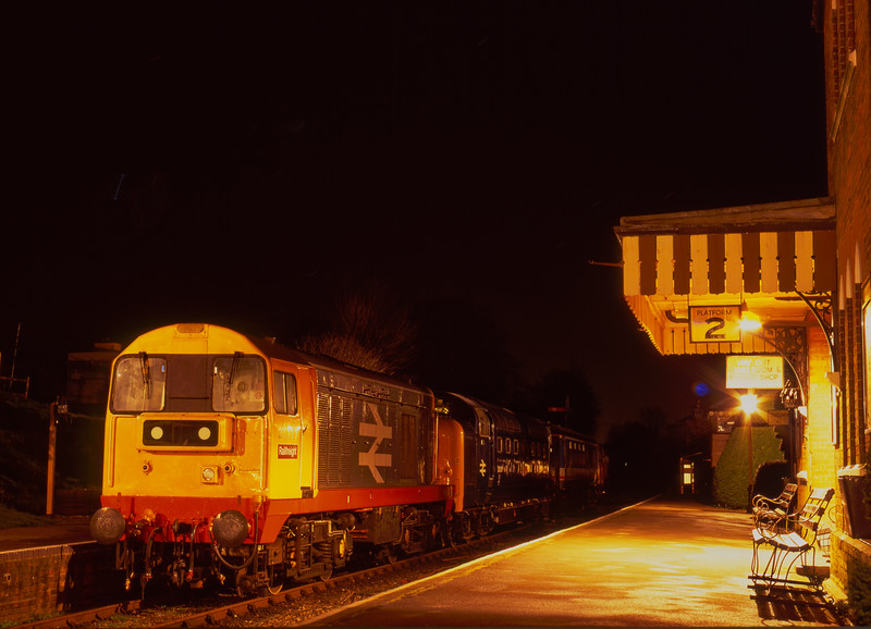 """20227 and 55015 """"Tulyar"""" after arrival at Ropley for the Gala on 26th February 1995. <br /> Scanned Transparency."""