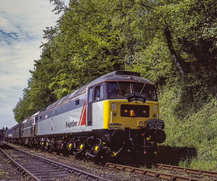 """47358 """"Ivanhoe"""" and 33208 departing from Ropley with the 11:45 Alresford - Alton,  <br /> on 13th May 2005. Scanned Transparency."""