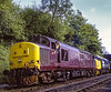 """37401 """"The Royal Scotsman"""" and 37190 arriving at Ropley with the 09:55 Alton - Alresford,<br /> on 13th May 2005. Scanned Transparency."""