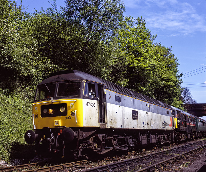 """47303 """"Freightliner Cleveland"""" and 31128 """"Charybdis"""" arriving at Ropley with the <br /> 11:25 Alton - Alresford,  on 13th May 2005. Scanned Transparency."""