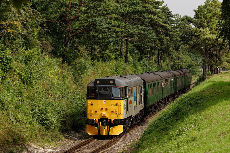 31271 passing through the Pine Trees, with the 11:40 Alton - Alresford, <br /> on 6th September 2014.