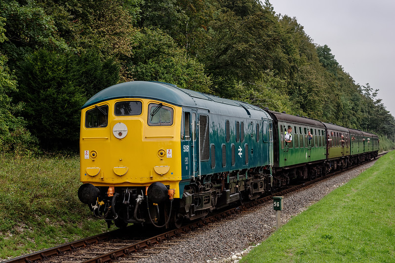 24081 at Milepost 56, with the 11:40 Alton - Alresford, on 7th September 2014.