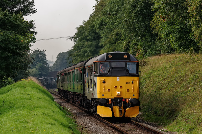 31271 at College Crossing, with the 10:35 Alresford - Alton, on 6th September 2014.