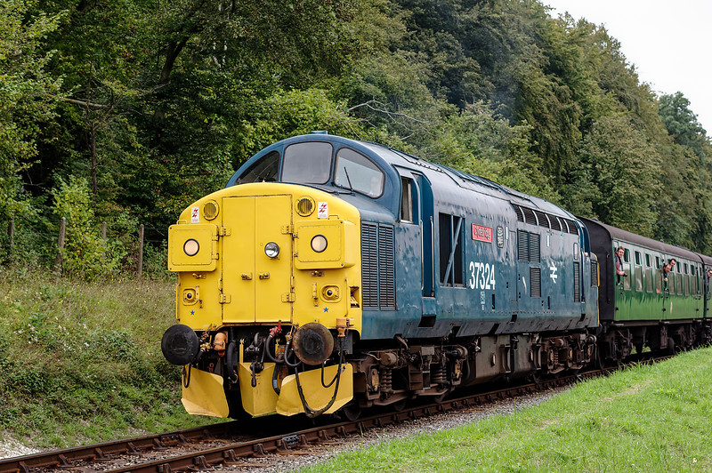 37324 approaching the Ropley Down Outer Home signal, with the 10:20 Alton - Alresford, <br /> on 5th September 2014.