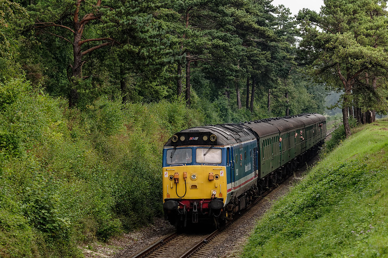 50027 passing through the Pine Trees, with the 13:00 Alton - Alresford, <br /> on 6th September 2014.