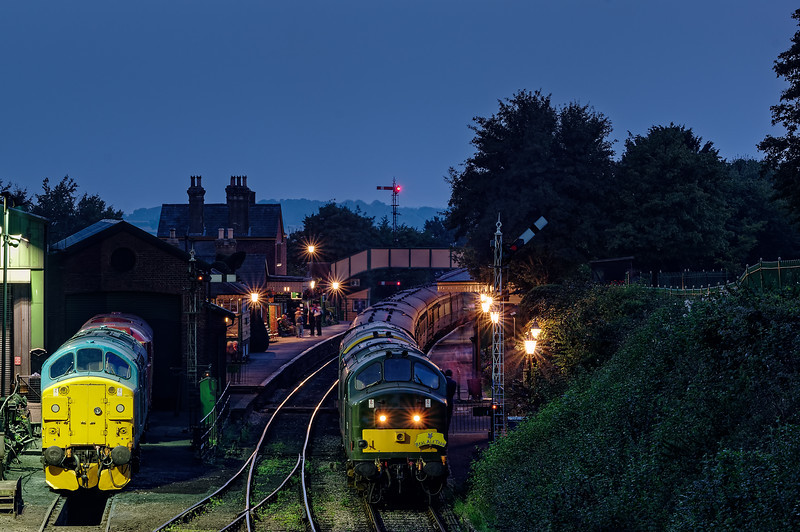 37905 and 37901 at Ropley, with the 20:00 Alresford - Alton. <br /> 37324 and 31466 also in view. 6th September 2014.