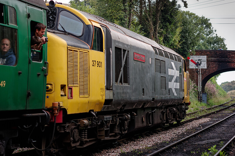 37901 departs from Ropley, passing the Up Advance Starting signal, <br /> with the 09:55 Alresford - Alton, on 6th September 2014.