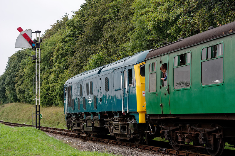 24081 passing Ropley Down Outer Home signal, with the 11:40 Alton - Alresford, <br /> on 7th September 2014.