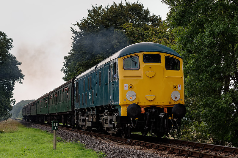 24081 at Rookwood Lane, with the 15:15 Alresford - Alton, on 6th September 2014.