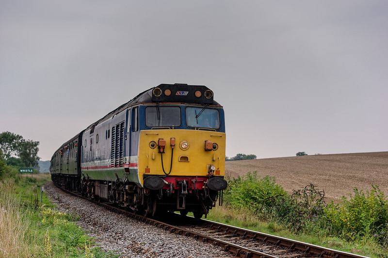 50027 at Northside Lane, with the 15:55 Alresford - Alton, on 5th September 2014.