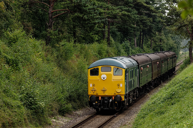 24081 passing through the Pine Trees, with the 12:20 Alton - Alresford, <br /> on 6th September 2014.