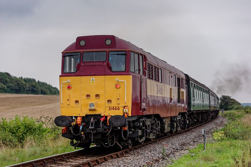 31466 at Northside Lane, on the rear of the 16:35 Alresford - Alton, on 5th September 2014.