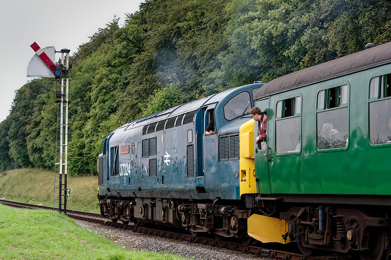37324 passes the Ropley Down Outer Home signal, with the 10:20 Alton - Alresford, <br /> on 5th September 2014.