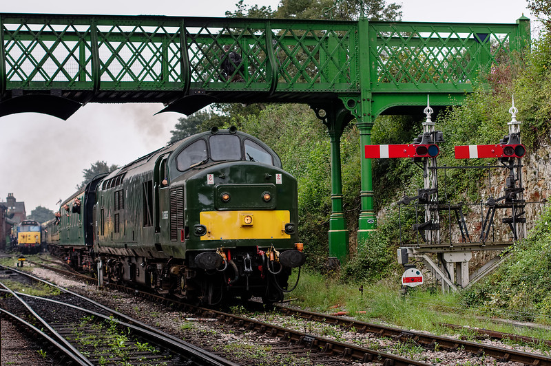 37905 departing from Ropley, with the 11:15 Alresford - Alton. 50027 is in platform 2. <br /> 7th September 2014.
