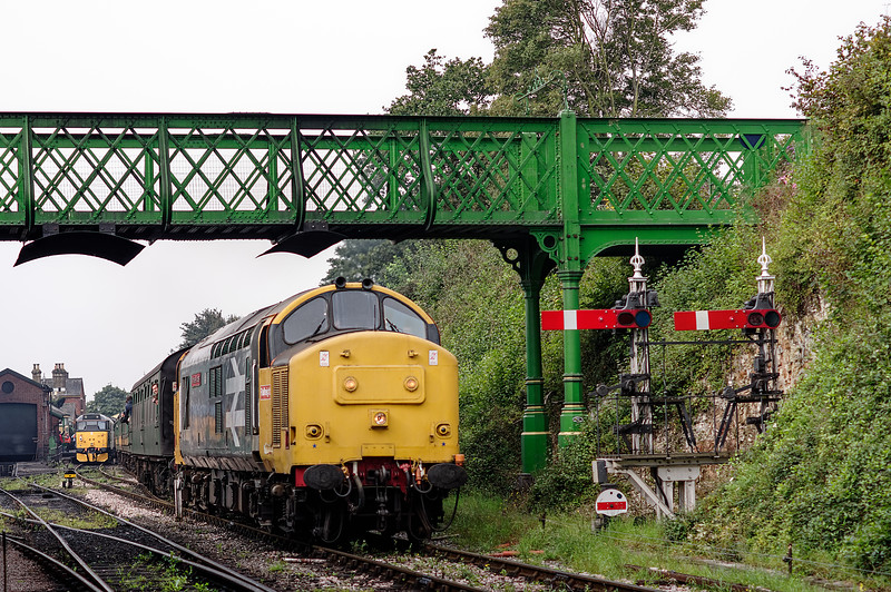37901 departs from Ropley, with the 09:55 Alresford - Alton, on 6th September 2014.