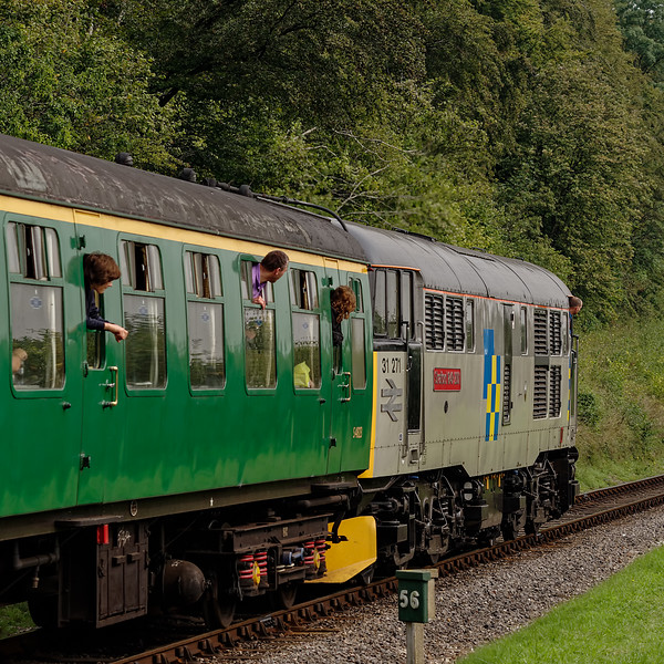 31271 at Milepost 56, with the 10:35 Alresford - Alton, on 6th September 2014.