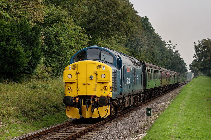 37324 at Milepost 56l, with the 10:20 Alton - Alresford, on 6th September 2014.
