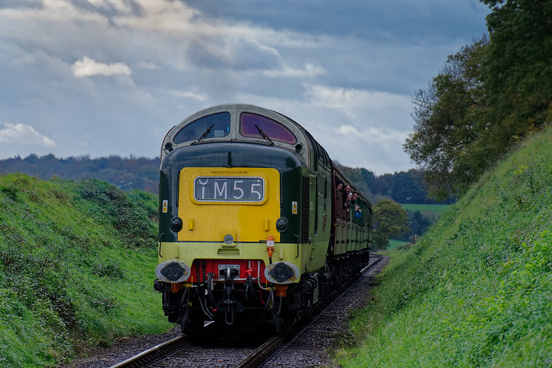 55002 at Bluebell Crossing, with the 14:25 Alresford - Alton, on 22nd October 2017.