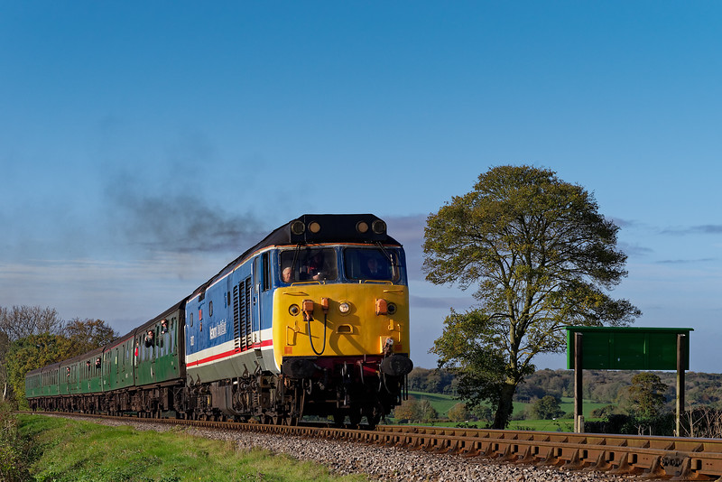 50027 on Wanders Curve with the 09:20 Alresford - Alton, on 22nd October 2017.