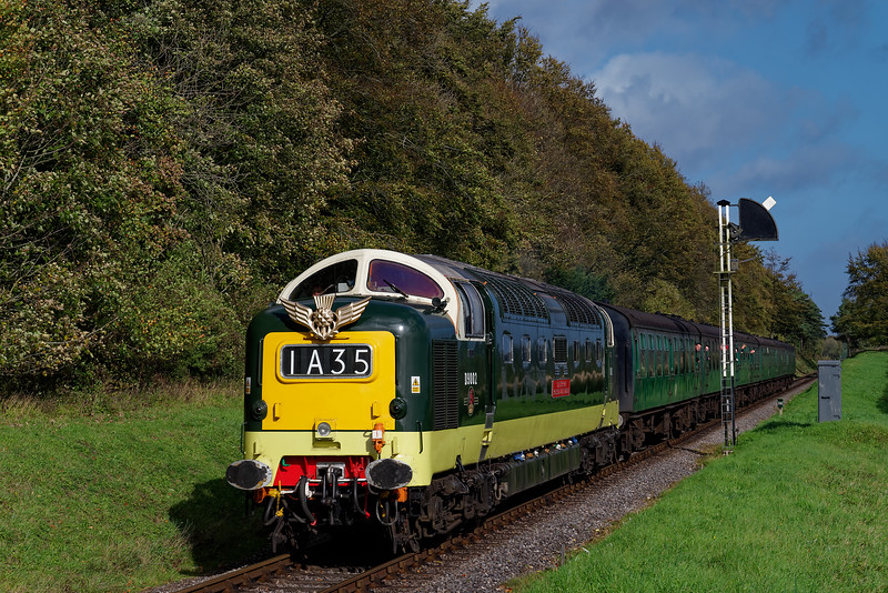 55002 passes Ropley Down Outer Home signal, with the 12:10 Alton - Alresford, <br /> on 21st October 2017.