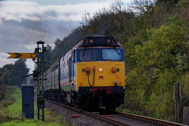 50027 passes Ropley Down Distant signal, with the 13:15 Alresford - Alton, on 22nd October 2017.
