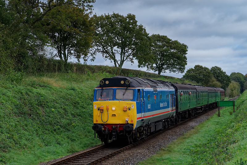 50027 approaching Wanders Crossing with the 11:30 Alton - Alresford, <br /> on 20th October 2017.