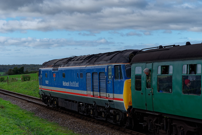 50027 at Wanders Crossing with the 11:30 Alton - Alresford, on 20th October 2017.