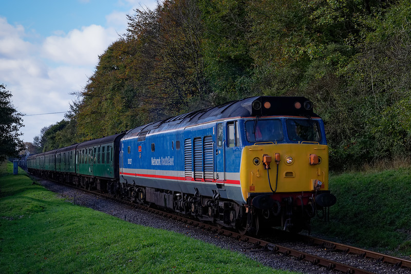 50027 at College Crossing, with the 11:05 Alresford - Alton, on 22nd October 2017.