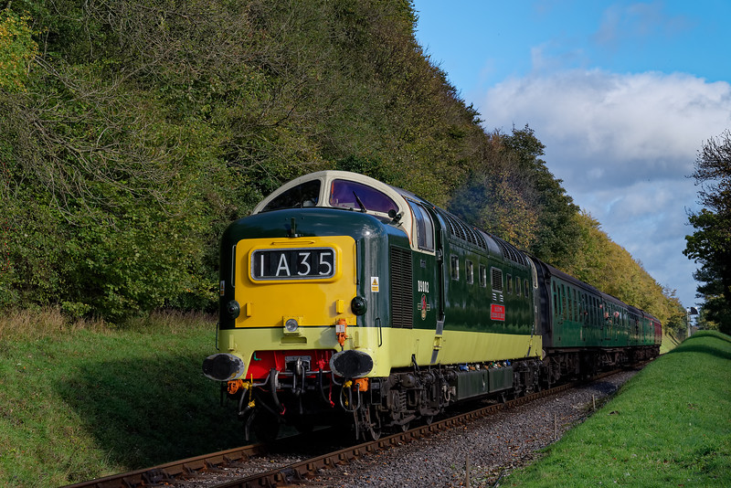 55002 at College Crossing with the 11:30 Alton - Alresford, on 22nd October 2017.