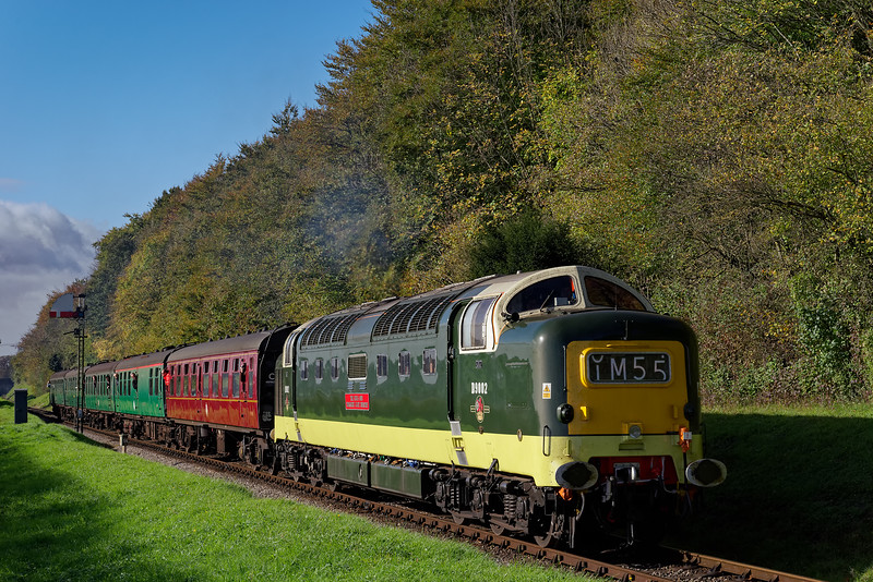 55002 passing Ropley Down Outer Home signal, with the 10:25 Alresford - Alton, <br /> on 22nd October 2017.