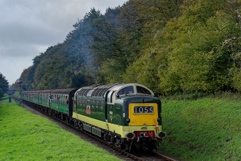 55002 passing Ropley Down Outer Home signal, with the 11:05 Alresford - Alton, <br /> on 21st October 2017.