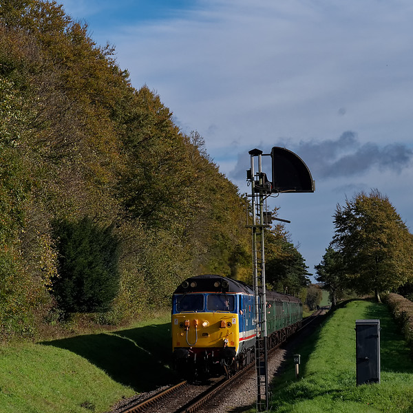 50027 waiting for Ropley Down Outer Home signal to clear, with the 10:10 Alton - Alresford, on 22nd October 2017.