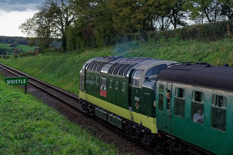 55002 at Bluebell Crossing, with the 15:30 Alton - Alresford, on 22nd October 2017.