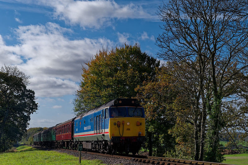 50027 at Rookwood Lane with the 12:25 Alresford - Alton, on 20th October 2017.