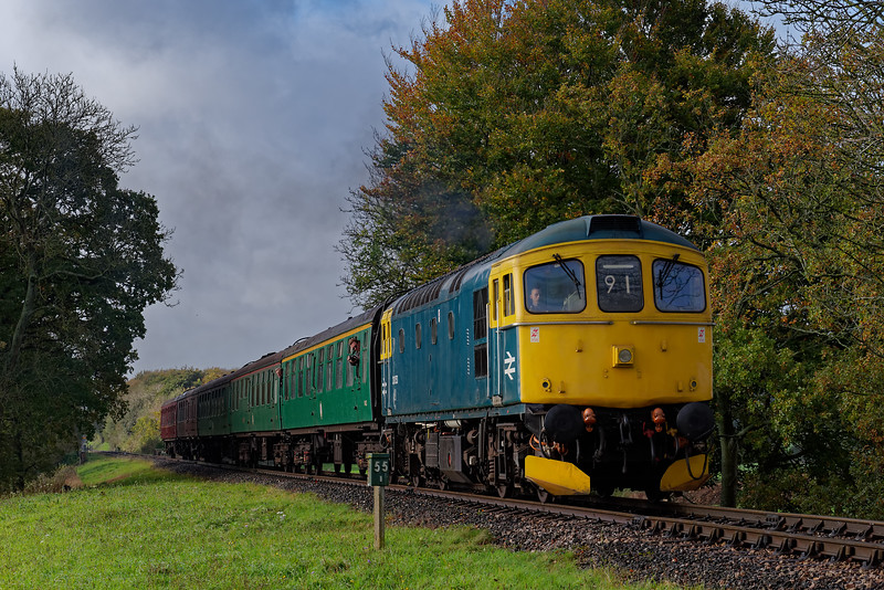 33053 at Rookwood Lane with the 09:45 Alresford - Alton, on 21st October 2017.