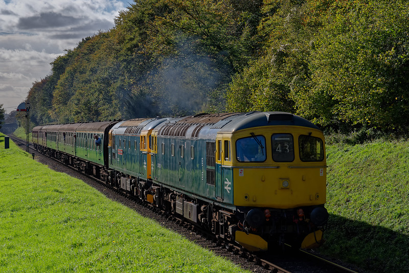 33053 / 33202 passing Ropley Down Outer Home signal, with the 13:45 Alresford - Alton, <br /> on 20th October 2017.