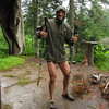 Dancin' in the rain. Its a drizzly morning as we start our 6 mile hike to Russell Pond camp site.
