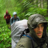 as we slog through the wet and unmaintained Grand Falls trail.